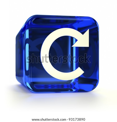 Blue glass refresh computer icon. Part of an icon set.