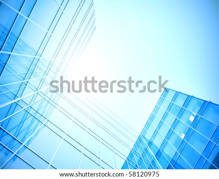 blue glass skyscraper perspective view