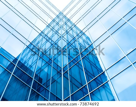 blue glass wall of office building