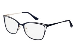 blue glasses for vision on a white background. File contains clipping path