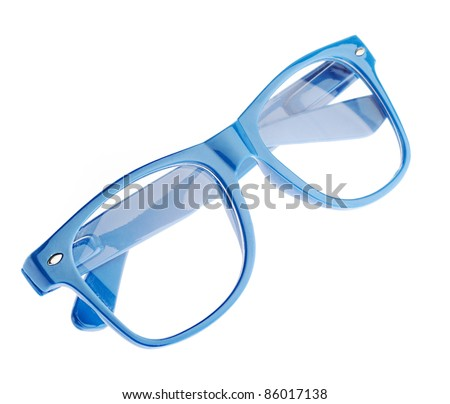 blue glasses isolated on a white background - stock photo