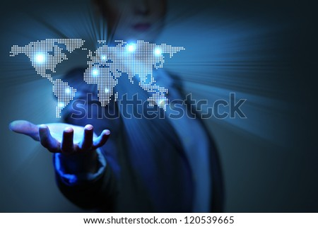 Blue global technology background with the planet Earth map