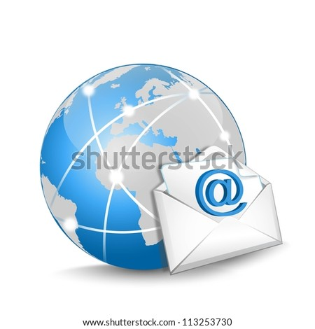 blue globe and e-mail on a white background