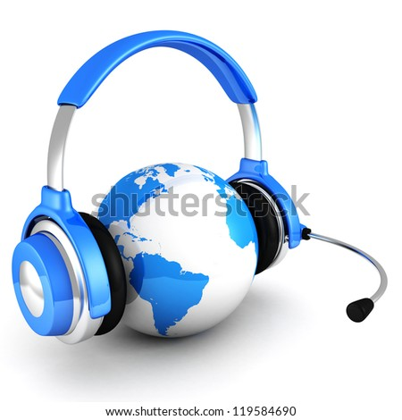 blue globe earth sphere with headphones and microphone