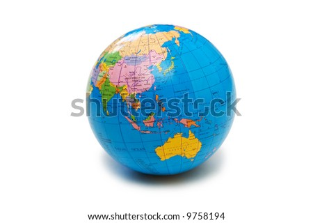 Blue globe isolated on the white background