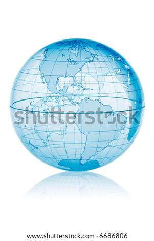 Blue globe isolated on white background with reflection