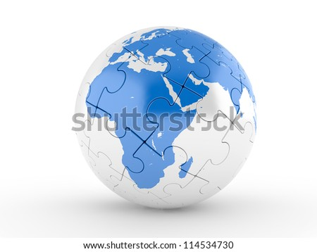 Blue globe puzzle on a white background