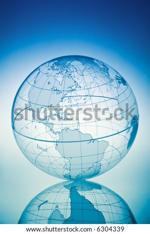 Blue globe with backlit light