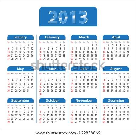 Blue glossy calendar for 2013. Sundays first - stock photo
