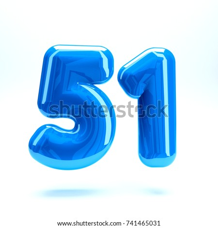 Blue glossy celebrate letter number fifty one 51  bold and uppercase. 3D render font painted with blue  polish and light reflection isolated on white background with clear shadow #741465031