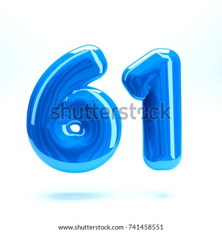 Blue glossy celebrate letter number sixty one 61 bold and uppercase. 3D render font painted with blue  polish and light reflection isolated on white background with clear shadow #741458551