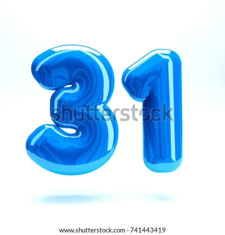 Blue glossy celebrate letter number thirty one 31 bold and uppercase. 3D render font painted with blue  polish and light reflection isolated on white background with clear shadow #741443419