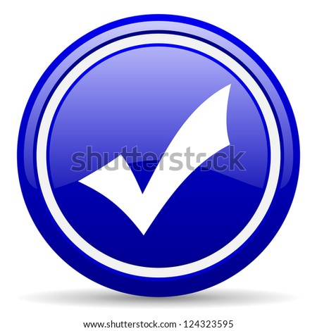 blue glossy circle web icon on white background with shadow