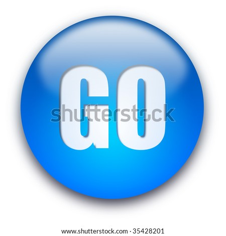 Blue glossy GO button isolated over white background