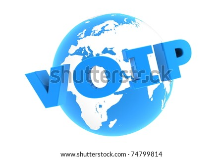 blue glossy word VoIP is bent in front of a blue glossy globe