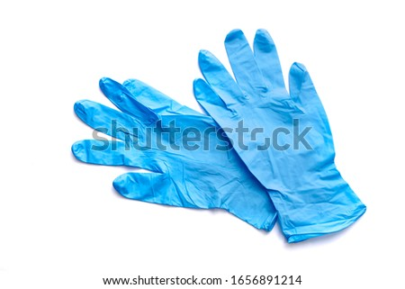Blue glove for health protection isolated on white background. ストックフォト ©