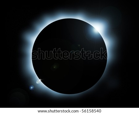 blue glow eclipse with stars in background