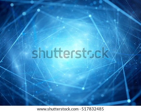Blue glowing cloud computing, computer generated abstract background, 3D render
