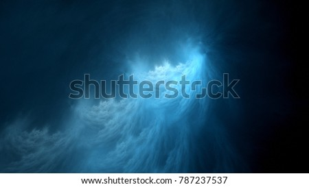 Blue glowing ethereal plasma flame in space, computer generated abstract background, 3D rendering