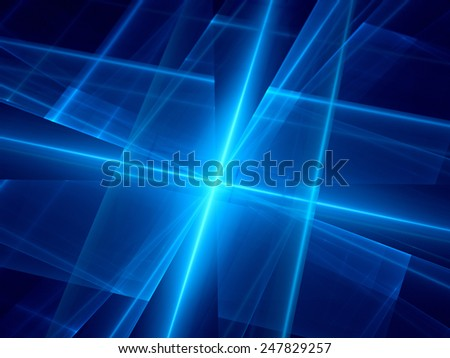 Blue glowing lines in space, computer generated abstract background
