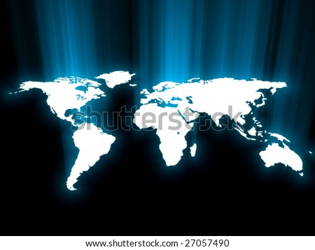 blue glowing map