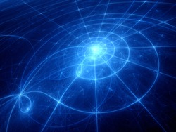 Blue glowing planetary system trajectories, computer generated abstract background