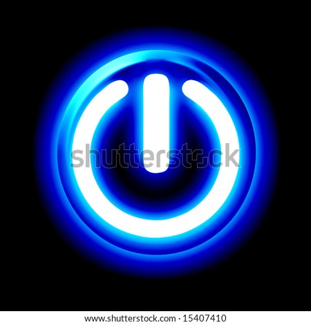 Blue glowing power button on a black background