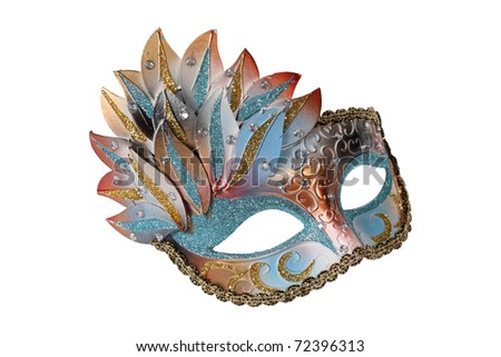 Blue-gold Venetian mask isolated on white