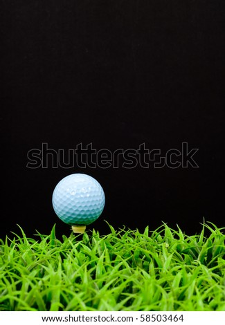 Blue Golf Ball on Tee in Grass with Space for Text