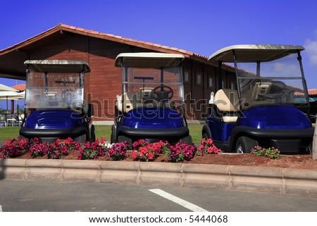 blue golf cars parked near club house
