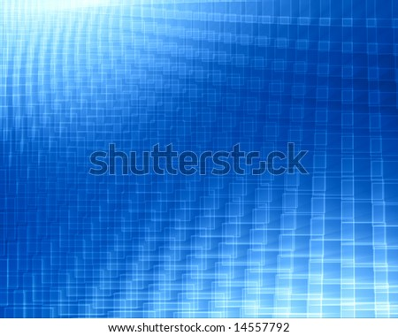 blue gradient background with white squares