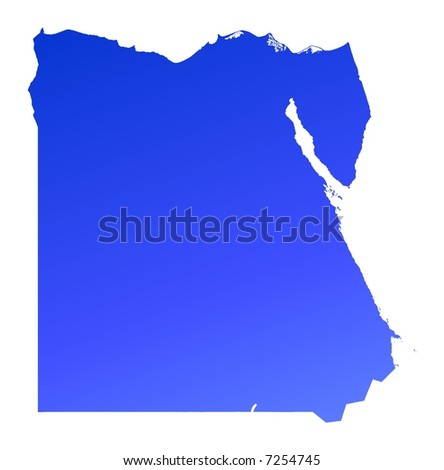 Blue gradient Egypt map. Detailed, Mercator projection.