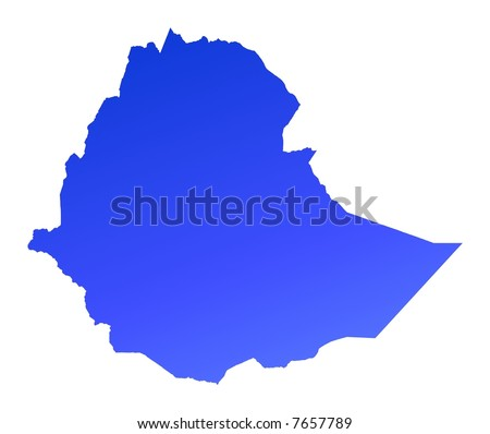 Blue gradient Ethiopia map. Detailed, Mercator projection.