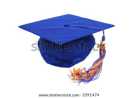 Blue Graduation Cap Isolated