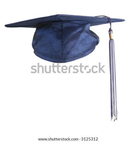 Blue graduation cap, isolated on white.