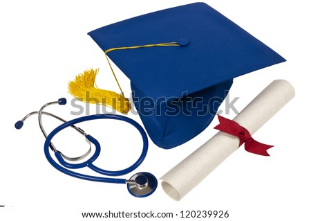 Blue graduation hat with yellow tassel, diploma with red ribbon and a blue stethoscope showing someone who just graduated from medical school.  Isolated on white.