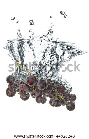 blue grape dropped into water with splash isolated on white