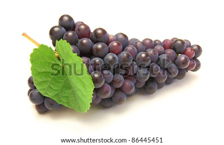 Blue grape with green leaf, isolated on white background