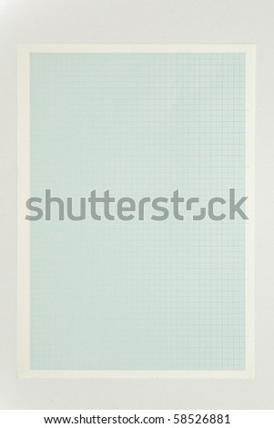 Blue graph paper isolated on white background