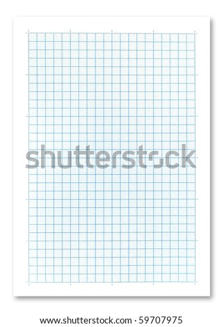 Blue graph paper on white background.