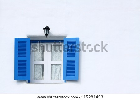 Blue greek style window.