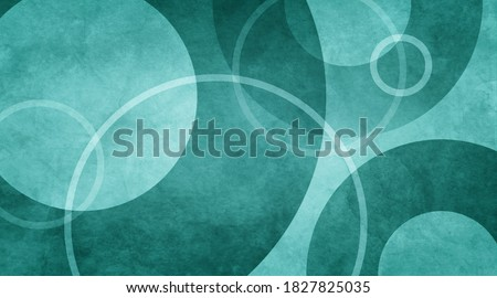 blue green abstract background with white circle rings in faded distressed vintage grunge texture design, old geometric pattern paper in teal