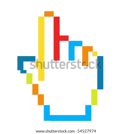 stock photo : Blue, green, orange and red hand computer mouse pointer
