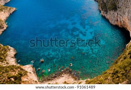 Blue - green paradise bay. Zakynthos, Ionian Sea, Greece. - stock photo