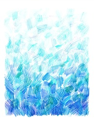 Blue-green pencil sketch abstract background with crosshatch strokes in kid drawing scribble style