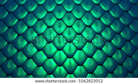 Blue green scales of a mermaid or a dragon background 3d illustration