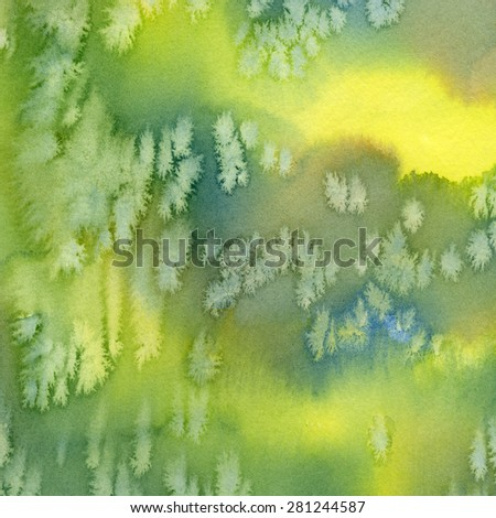 Blue, Green, Yellow Abstract Watercolor Design 1. Watercolor abstract painting with textures, bright colors of yellow, green, blue green, in a square design.