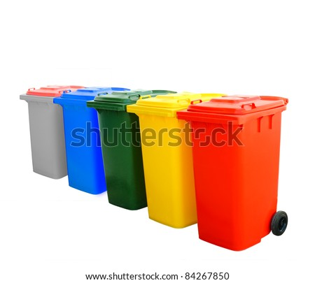 Blue green yellow red and gray recycle bins isolated