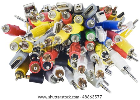 Blue, green, yellow, white,green RCA, HDMI, USB, internet  connectors electrical chaos for switching signals in modern electronic equipment. Isolated on white.