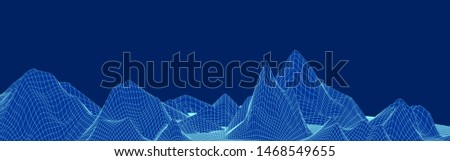 Blue grid polygonal picture background with mountain cyberspace for presentations